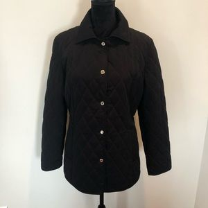 Liz Claiborne black quilted jacket snap closure